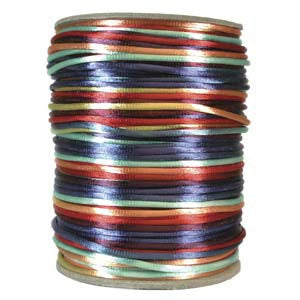 2mm Satin Rayon Rattail Cord, Multi Bright Colors, by the yard - Barrel of Beads