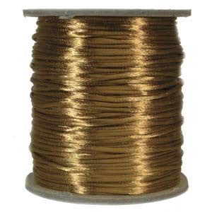 2mm Satin Rayon Rattail Cord, Camel, by the yard - Barrel of Beads