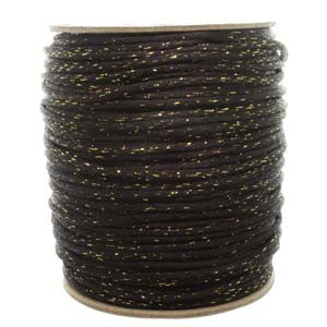 3mm Satin Rayon Rattail Cord, Gold Metallic + Black, by the yard - Barrel of Beads