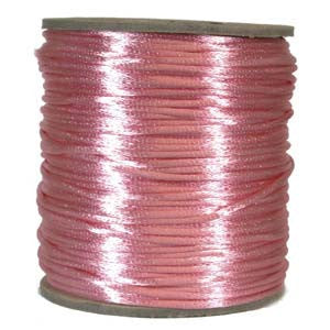 2mm Satin Rayon Rattail Cord, Light Pink, by the yard - Barrel of Beads