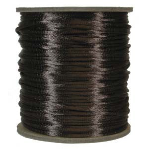 3mm Satin Rayon Rattail Cord, Medium Brown, by the yard - Barrel of Beads