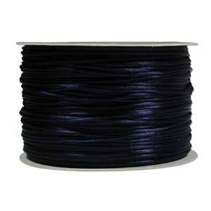 1mm Satin Rayon Rattail Cord, Navy, by the yard - Barrel of Beads