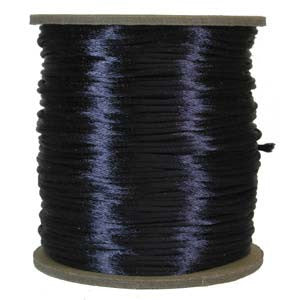 2mm Satin Rayon Rattail Cord, Navy, by the yard - Barrel of Beads