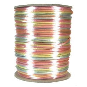 2mm Satin Rayon Rattail Cord, Pastel Colors, by the yard - Barrel of Beads