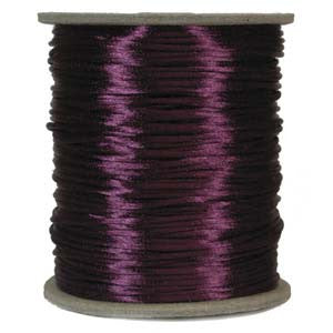 2mm Satin Rayon Rattail Cord, Plum, by the yard - Barrel of Beads
