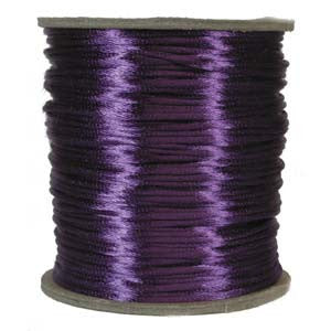 2mm Satin Rayon Rattail Cord, Purple, by the yard - Barrel of Beads