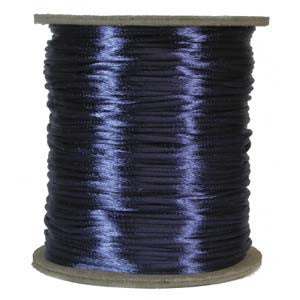 2mm Satin Rayon Rattail Cord, Royal Blue, by the yard - Barrel of Beads
