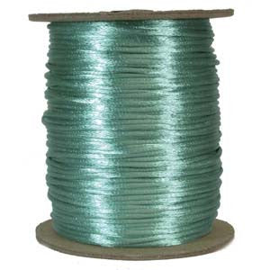 3mm Satin Rayon Rattail Cord, Turquoise, by the yard - Barrel of Beads