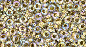Toho Demi Round 8/0 Seed Bead, Gold-Lined Rainbow Crystal, TN-08-994 - Barrel of Beads