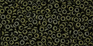 Toho Demi Round 11/0 Seed Bead, Matte-Color Dark Olive, TN-11-617 - Barrel of Beads