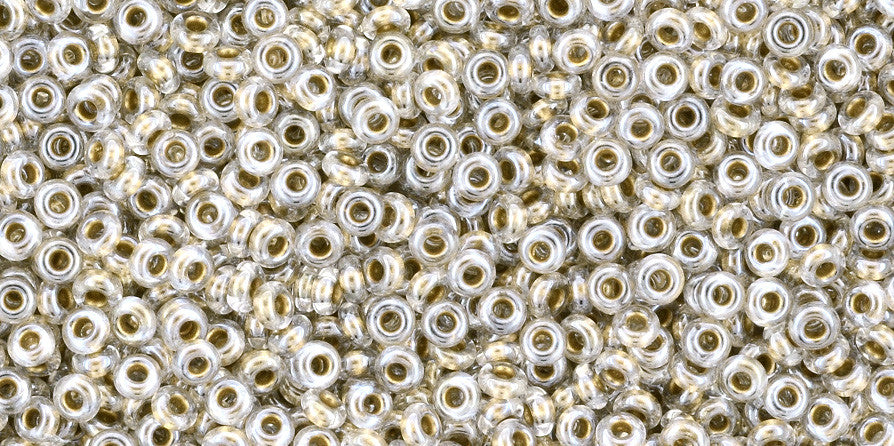 Toho Demi Round 11/0 Seed Bead, Gold-Lined Crystal, TN-11-989 - Barrel of Beads