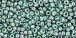Toho 11/0 Round Japanese Seed Bead, TR11-1207, Marbled Opaque Turquoise/Blue - Barrel of Beads