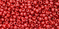 Toho 11/0 Round Japanese Seed Bead, TR11-125, Opaque Luster Cherry - Barrel of Beads