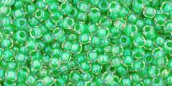 Toho 11/0 Round Japanese Seed Bead, TR11-184, Inside Color Luster Crystal/Spearmint Lined - Barrel of Beads