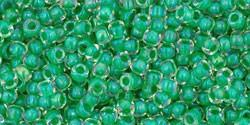 Toho 11/0 Round Japanese Seed Bead, TR11-187, Inside Color Crystal/Shamrock Lined - Barrel of Beads