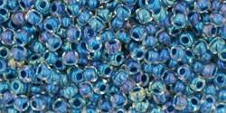 Toho 11/0 Round Japanese Seed Bead, TR11-188, Inside Color Luster Crystal/Capri Blue Lined - Barrel of Beads