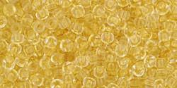 Toho 11/0 Round Japanese Seed Bead, TR11-2151, Inside Color Crystal Yellow - Barrel of Beads