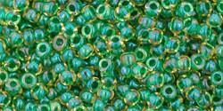 Toho 11/0 Round Japanese Seed Bead, TR11-242, Inside Color Jonquil/Emerald Lined - Barrel of Beads