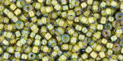 Toho 11/0 Round Japanese Seed Bead, TR11-246, Inside Color Luster Black Diamond/Opaque Yellow Lined - Barrel of Beads