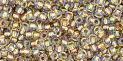 Toho 11/0 Round Japanese Seed Bead, TR11-262, Inside Color Crystal/Gold Lined - Barrel of Beads