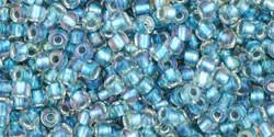 Toho 11/0 Round Japanese Seed Bead, TR11-263, Inside Color AB Crystal/Light Capri - Barrel of Beads