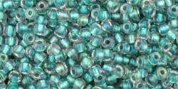 Toho 11/0 Round Japanese Seed Bead, TR11-264, Inside Color AB Crystal/Teal Lined - Barrel of Beads