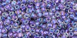 Toho 11/0 Round Japanese Seed Bead, TR11-265, Inside Color AB Crystal/Metallic Purple Lined - Barrel of Beads