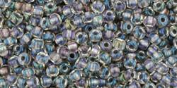 Toho 11/0 Round Japanese Seed Bead, TR11-266, Inside Color Gold Luster Crystal/Opaque Gray - Barrel of Beads