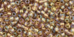 Toho 11/0 Round Japanese Seed Bead, TR11-268, Inside Color AB Crystal/Gold Lined - Barrel of Beads