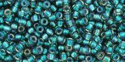 Toho 11/0 Round Japanese Seed Bead, TR11-270, Inside Color Crystal/Prairie Green Lined - Barrel of Beads