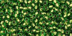 Toho 11/0 Round Japanese Seed Bead, TR11-742, Copper Lined Peridot - Barrel of Beads