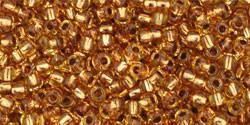 Toho 11/0 Round Japanese Seed Bead, TR11-744, Copper Lined Amber - Barrel of Beads