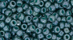 Toho 8/0 Round Japanese Seed Bead, TR8-1207, Marbled Opaque Turquoise/Blue - Barrel of Beads