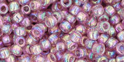 Toho 8/0 Round Japanese Seed Bead, TR8-166, Transparent AB Light Amethyst - Barrel of Beads