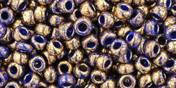 Toho 8/0 Round Japanese Seed Bead, TR8-1701, Gilded Marble Blue - Barrel of Beads