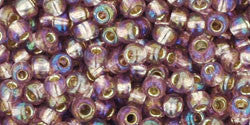 Toho 8/0 Round Japanese Seed Bead, TR8-2026, Silver Lined AB Light Amethyst - Barrel of Beads
