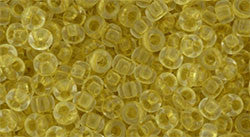 Toho 8/0 Round Japanese Seed Bead, TR8-2151, Inside Color Crystal Yellow - Barrel of Beads