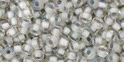Toho 8/0 Round Japanese Seed Bead, TR8-261, Inside Color AB Crystal/Gray Lined - Barrel of Beads