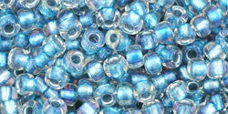 Toho 8/0 Round Japanese Seed Bead, TR8-263, Inside Color AB Crystal/Light Capri - Barrel of Beads