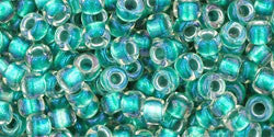 Toho 8/0 Round Japanese Seed Bead, TR8-264, Inside Color AB Crystal/Teal Lined - Barrel of Beads