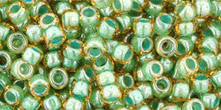 Toho 8/0 Round Japanese Seed Bead, TR8-380, Inside Color Topaz/Mint Julep Lined - Barrel of Beads