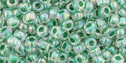 Toho 8/0 Round Japanese Seed Bead, TR8-699, Inside Color AB Crystal/Shamrock Lined - Barrel of Beads