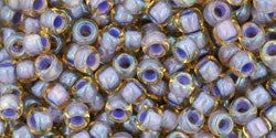 Toho 8/0 Round Japanese Seed Bead, TR8-926, Inside Color Light Topaz/Opaque Lavender Lined - Barrel of Beads