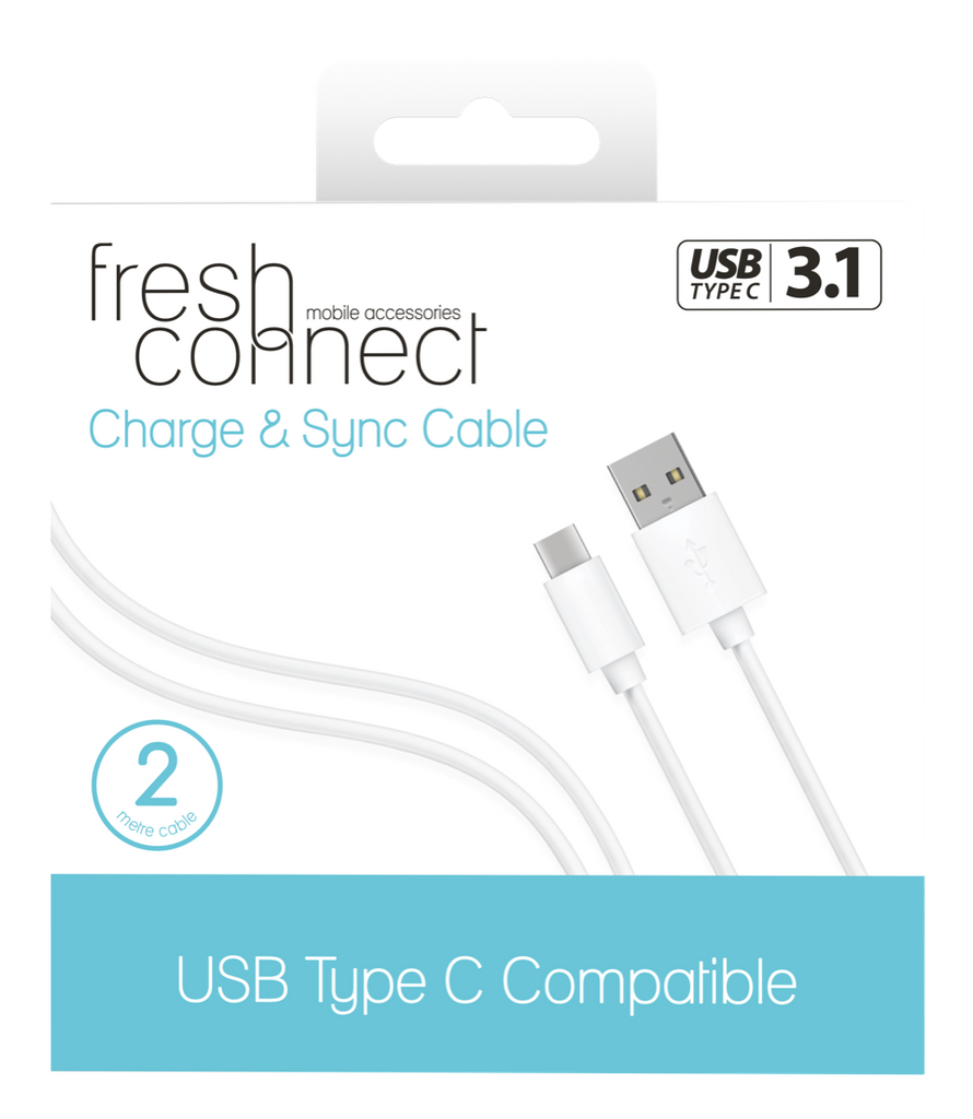 Fresh Connect Type-C 2m Cable -White