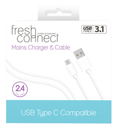 Fresh Connect Type-C Mains 2.4amp -White