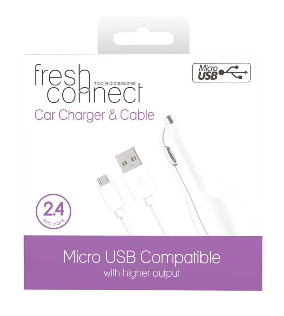 Fresh Connect Micro USB With Car Charger -White