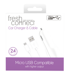 Fresh & Connect Micro USB With Car Charger -White