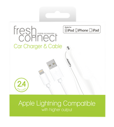 Fresh Connect Lighting Cable With Car Charger - White