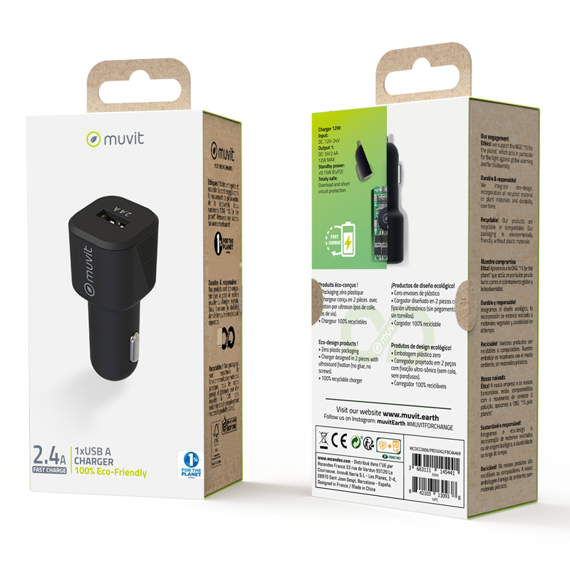Muvit ECO-Friendly Car Charger 2.4Amp - Black