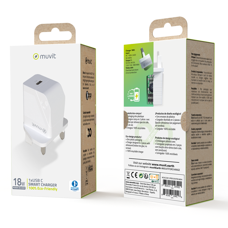Muvit ECO-Friendly Wall Charger 18w - White